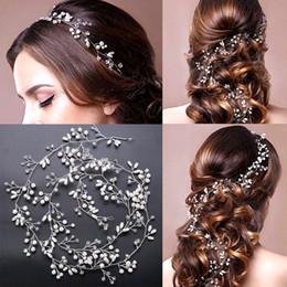 roses for hair 2019 - Headpiece Fascinators super Long For Brides Wedding Silver Gold Handmade Rhinestone Pearl Hairband Headband Luxury Hair