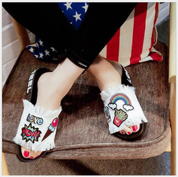 $enCountryForm.capitalKeyWord Canada - Europe and America denim slippers cartoon embroidered tape tassel flat with non-slip shoes open toe word slippers female summer