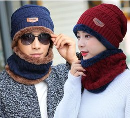 Knitted necK warmers for women online shopping - Winter hat knit cap Neck warmer scarf cap Winter Hats For men knitted hat men prevention Wind snow
