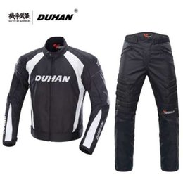 Breathable Summer Motorcycle Jackets NZ - DUHAN Motorcycle Black Jacket Motocross Suits Jacket&Pants Moto Protective Gear Armor Motorcycle Racing Jackets Summer for Men