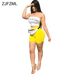 115fd20be5e ZJFZML Rainbow Letter Print Sexy Two Piece Set 2018 Women Strapless  Sleeveless Crop Top And Summer High Waist Tight Party Short