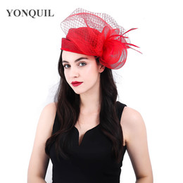 crinoline hair NZ - 3 colors high quality red cocktail hats kentucky derby crinoline fascinator headwear colorful mesh event hair accessories SYF404