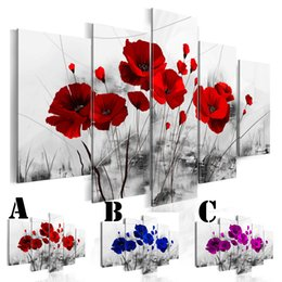 $enCountryForm.capitalKeyWord Australia - Wall Art Picture Printed Oil Painting on Canvas Unframed 5pcs set Home Decor Extra Mirror Border Three Color Poppies Flower