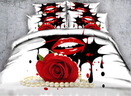 $enCountryForm.capitalKeyWord NZ - 3D red rose Duvet Cover romantic bedding sets queen floral Bedspreads Holiday Quilt Covers Bed Linen Pillow Covers white pearl necklace