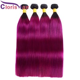 $enCountryForm.capitalKeyWord Australia - Silky Straight Hair Weaves Two Tone Ombre Virgin Peruvian Hair Bundles Cheap Dark Root 1B Purple Filipino Human Hair Extensions 3 Pieces