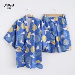 0a02ced17d Summer Japanese style Couple pajamas sets 100% Cotton Half sleeve Rabbit  kimono Womens Pyjamas Home Clothing Sleepwear Female