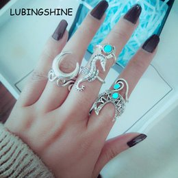 Hollow Fingers Australia - 6pcs set Bohemian Hollow Moon Midi Finger Rings Set for Women Girl Seahorse Geometric Turtle Knuckle Ring Anillo Jewelry