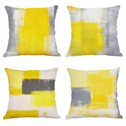watercolor pillow cushion covers Australia - Yellow Watercolor Throw Pillow Case Cushion Cover 18 x 18 Inch Cotton Linen Halloween Thanksgiving Home Decor Set of 4