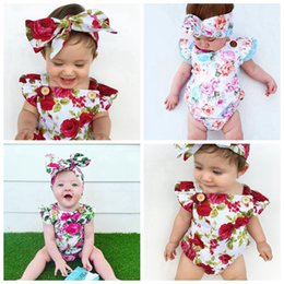 5a66e830fd9 Newborn baby girl clothes summer flower romper jumpsuit onesies +headband  2pcs kid clothing boutique outfits babies girls toddler 0-24M