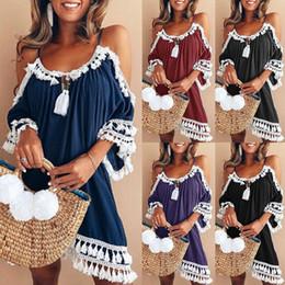2018 Fashion Sweet Causal Summer Holiday Dress Women Dress Off Shoulder  Tassel Solid Straight Loose Knee-Length Dress c0cb04f5ad21