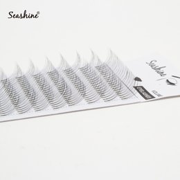 Wholesale Seashine D Russian Volume lashes Short stem D Premade Fans Eyelash Extension Customize Box Silk Soft Natural Long Drop For