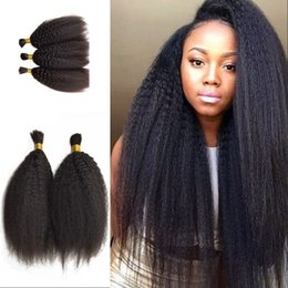 Discount 18 inch human hair for - Kinky Straight Hair Bulk Malaysian Peruvian Cambodian Human Hair Bulk For Braiding 3 Bundles Bulk Hair Natural Color FDS