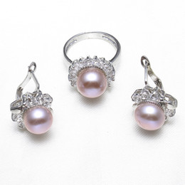 $enCountryForm.capitalKeyWord NZ - Real Natural Cultured Freshwater Pearl Jewelry Sets Pink Purple Pearl Flower Rings earrings cubic zirconia Wedding Bridal Gifts