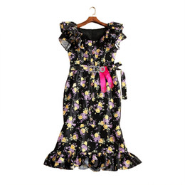 print chiffon floor length dress UK - Ecombird 2017 New Fashion HIGH QUALITY Runway Dress Women's Short Sleeve Charming Floral Printed Mermaid Dresses Femme Vestido