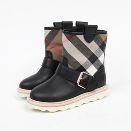 Fashionable low heels online shopping - A Fashionable British Style Child plaid Short Boots New Pattern Girl Boy Genuine Leather retro metal buckle collocation kids shoes