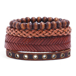 Fashion Jewelry For Men NZ - Wholesale Price Vintage Leather Rope Bracelet Set Personal DIY Style Handmade Braided Bracelet Fashion Jewelry For Men