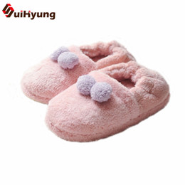 Padded Flooring Canada - Suihyung Women Winter Thermal Indoor Shoes Plush Home Slippers Hairball Warm Cotton-padded Shoes Female Bedroom Floor Slippers