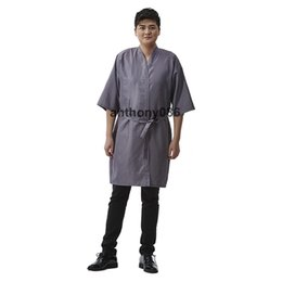 salon clothes SPA gown polyester black red gray aba89d258