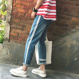 New Trend Casual Jeans Canada - 2018 New Men's Fashion Trend Blue Side Stripe Cotton Cowboy Casual Pants Stretch Slim Fit Jeans Denim Trousers Big Size 28-34