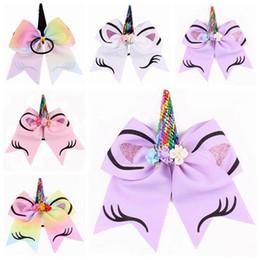$enCountryForm.capitalKeyWord Australia - 2018 unicorn girls hairbands silk flowers hair bows baby rainbow sequin hair accessories kids cute cheer bows 8inch jojo bows head bands hot