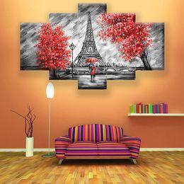 cartone animato Moto amore coppia albero rosso coppie scure Torre 5 pezzo di arte della parete della tela di canapa Pittura modulare Picture Room Decoration Stampa incorniciata in Offerta