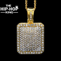 Mens Hip Hop Chains NZ - Mens Full Iced Out CZ Gold Silver Color Square Dog Tag Pendant 5mm*30''   3mm*24