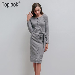 $enCountryForm.capitalKeyWord Canada - Wholesale-Toplook Knitted Belt Sweater Dress Womens Winter Autumn Grey Basic Button Split Sheath Dresses Fitness Office Lady Dress