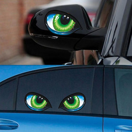 Discount car side mirror stickers - 2Pcs Creative Evil Eyes Self-Adhesive Sticker Rear View Mirror Car Decor Decal Stereo Reflective Cat Eyes Car Auto Side