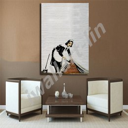 picture banksy NZ - Banksy Maid Sweeping Street Graffiti Posters HD Canvas Painting Oil Framed Wall Art Print Pictures For Living Room Home Decoracion