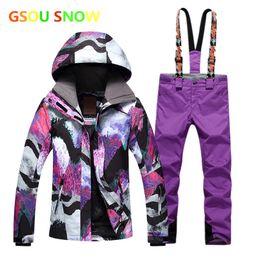 2018 Winter Gsou Snow Womens Ski Suit Female Snowboard Suit Snow Jacket and Pants  Womans Ski Clothing 97f4b4d5e