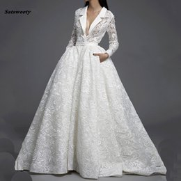 wedding dresses flowers design NZ - Special Design Lace Long Sleeves Chic Ball Gowns Wedding Dress Custom Made Venice Lace Puffy Illusion Removable 2 Pieces Bridal Dress