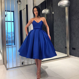 $enCountryForm.capitalKeyWord NZ - Stylish Royal Blue Prom Dresses Sexy V-Neck Sleeveless Ball Gown Short Party Dresses 2018 Cheap Custom Made Satin Tea Length Prom Dress