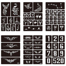 China 15 Styles 1 Sheet Henna Waterproof Tattoo Stencil Design Women Body Art Airbrush Paint Temporary Tatoo Sticker #275072 cheap henna sticker stencils suppliers