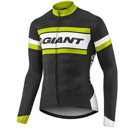Discount shrink polyester jacket - Pro Racing Cycling Jersey Team Giant Bicycle Sports Clothes long sleeve Ropa Ciclismo MTB Bike jacket quick dry Men Cycl