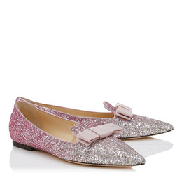 China Elegant Gala Platinum and Flamingo Ice Glitter Leather Women Beautiful Degrade Fabric Ladies Pointy Toe Bow Evening Flats EU35-42 cheap elegant evening shoes suppliers