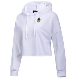 Wholesale pineapple hoodie for sale – custom New Spring Autumn Long Sleeve Pullover Womens Cropped Hoodie Pineapple Appliques Sweatshirt