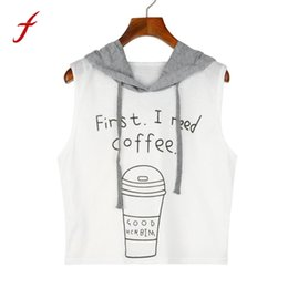 $enCountryForm.capitalKeyWord Canada - FEITONG first ineed coffee Letters Printing Spring Summer Women Fashion Sexy Hooded Crop Sleeveless T-Shirt Tops *30