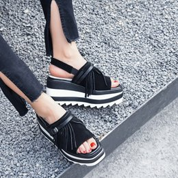 $enCountryForm.capitalKeyWord NZ - 2018 Summer Fringed Sandals Black Suede Leather Open Toe Height Increasing Platform Sandals Shoes Women
