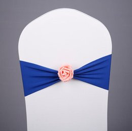 Discount sash ties - Spandex Lycra Chair Sash with Rose Ball Artifical Flower Wedding Chair Cover Sash Bands Wedding Lycra Bow Tie Band