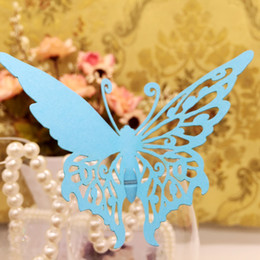$enCountryForm.capitalKeyWord Australia - Laser Cut Place Cards With Butterfly Paper Cutting Name Cards For Party Decorations Seating Place Cards Weddings PC-B22