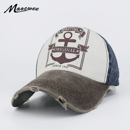 Discount wholesale letter hat patches - Fashion Cotton Baseball Cap Women Vintage Anchor Snapback Hat for Men Casual Patch Dad Cap Summer Trucker Hat Casquette