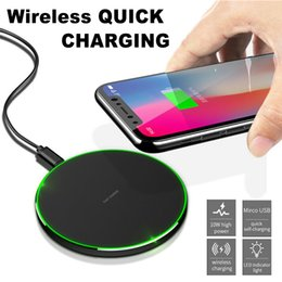 Wholesale KD Wireless Charger Qi Fast Charger Power Charging LED Light for iPhone Plus iPhone X Samsung S8 Plus Note8 with Retail Package