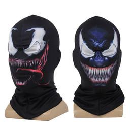 Spiderman black maSk online shopping - Venom Spiderman printed d Mask Cosplay Black SpiderMan Edward Brock Dark Superhero Venom Masks Helmet Halloween Party Props FFA1170