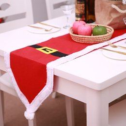 table feet covers 2019 - Navidad Santa Claus Clothes Tablecloth Christmas Dinner Table Flag Xmas Party Supply Christmas New Year Decoration For H