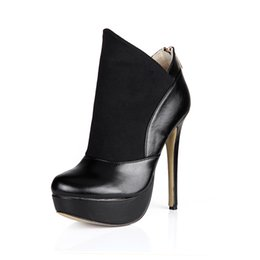 HigH Heels ankle boots 14cm online shopping - Fashion cm Women Sexy High Heel Boots Suede And Leather Women s Platform Ankle Boots Black Autumn And Winter Shoes for Women