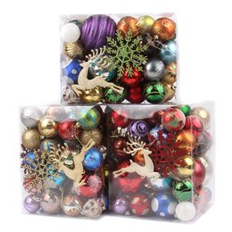 70pcs christmas tree decorations ball deer snow baubles xmas party wedding hanging ornament christmas decoration supplies wholesale snowing christmas tree