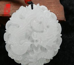 Carved Jade Red Pendants Australia - Afghan white jade carved dragon and phoenix pendant Pendant jade jade pendant with male and female