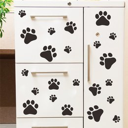 $enCountryForm.capitalKeyWord UK - Wholesale Funny Dog Cat Paw Print poster for kids room home decal Wall Stickers DIY cabinet door Food Dish Kitchen Bowl Car decor