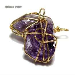 Discount stone pendants for jewelry making 2018 natural stone 2018 stone pendants for jewelry making wholesale wholesale natural amethystsstone purple crystal unique stone pendant mozeypictures Gallery