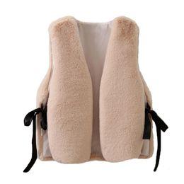 White Faux Fur Shorts Australia - Women Faux Fur Vest Fashion Jacket Lace Up Sleeveless Waistcoat Loose Winter Warm Outerwear Short Coats Autumn Streetwear